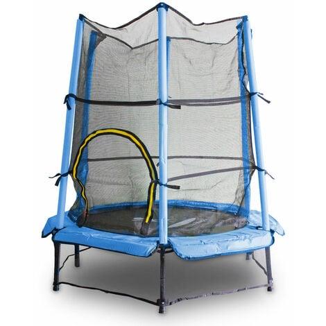 Kindertrampolin Gartentrampolin 140 cm Fitness Trampolin Komplettset für Indoor und Outdoor (Blau)