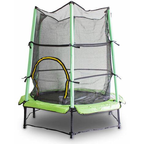Kindertrampolin Gartentrampolin 140 cm Fitness Trampolin Komplettset für Indoor und Outdoor (Hellgrün)