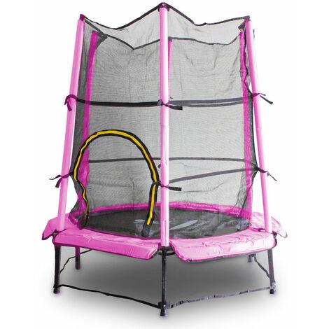 Kindertrampolin Gartentrampolin 140 cm Fitness Trampolin Komplettset für Indoor und Outdoor (Pink)