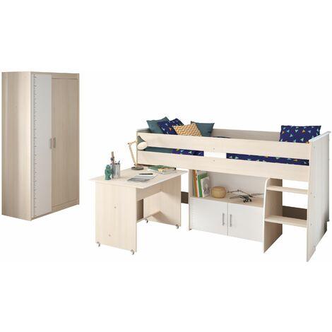 Kinderzimmer Charly Parisot 2-tlg Hochbett + Kleiderschrank grau - weiß