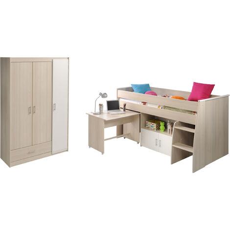Kinderzimmer Charly Parisot 2-tlg Hochbett + Schreibtisch + Kommode + Kleiderschrank grau - weiß