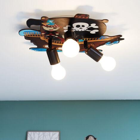 Kinderzimmer Deckenleuchte aus Holz und Stahl mit Piraten-Motiv 3xE27 EEK  A++ [Spektrum A++ bis E]