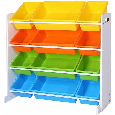 Kinderzimmerregal, Spielzeug-Organizer, Standregal für Kinder, mit 12 Aufbewahrungsboxen aus PP-Kunststoff, Kinderzimmer, Schule, Kindergarten, 86 x 26,5 x 78 cm, Pastellfarben, Weiß