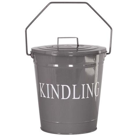 Kindling Bucket With Lid, Grey