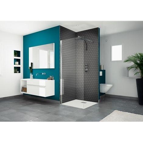 Kinedo - Paroi douche fixe verre transparent et profilé blanc Smart Solo