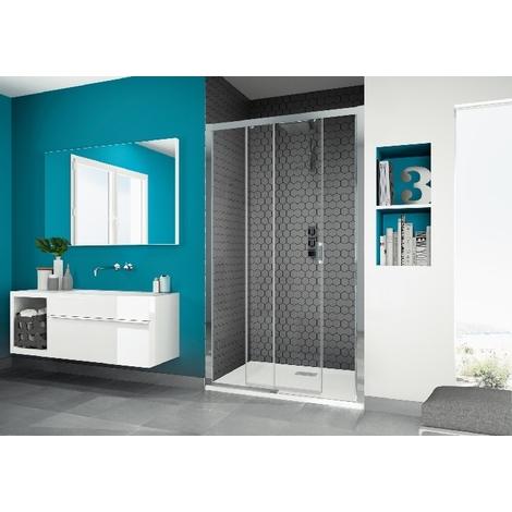Kinedo - Paroi douche porte coulissante Smart C verre sérigraphié et profilé blanc