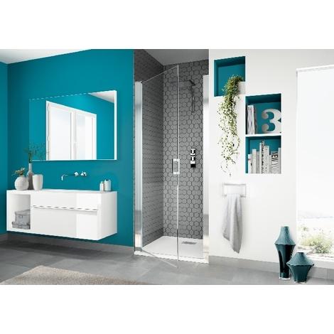 Kinedo - Paroi douche porte pivotante verre sérigraphié et profilé blanc Smart P