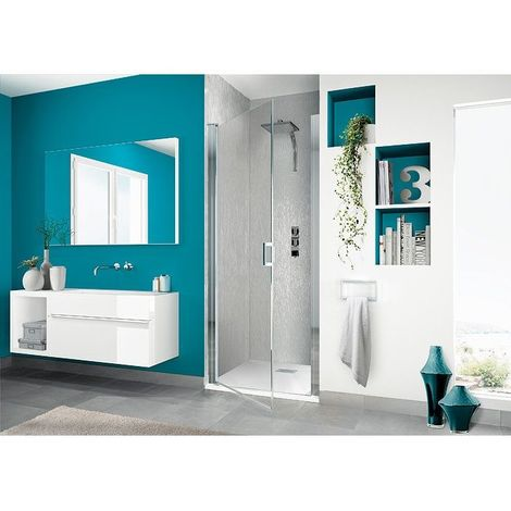 Kinedo - Paroi douche porte pivotante verre transparent et profilé chromé Smart P