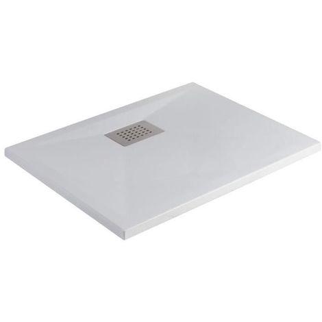 Kinedo - Receveur antidérapant blanc mat, bonde centree sur la largeur Kinesurf