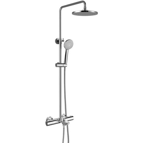 Kinetic Chrome Thermostatic Bath Shower Mixer & Adjustable Rigid Riser Rail Kit