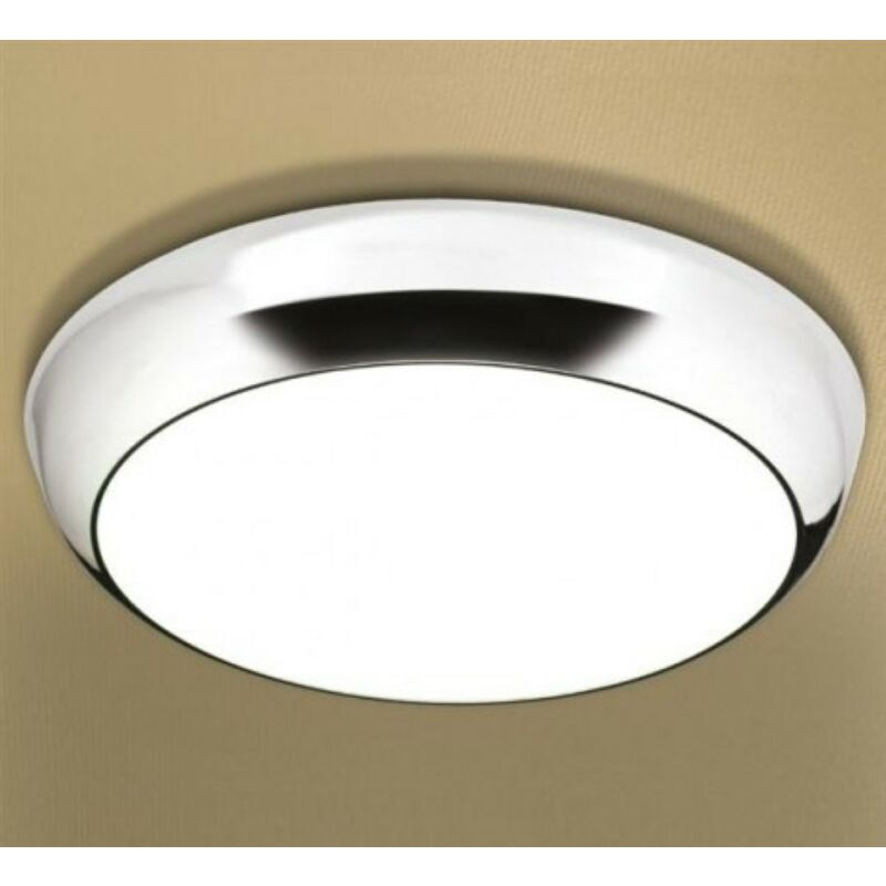 Image of Kinetic LED Illuminated Circular Ceiling Light with Chrome Detail & Diffused Shade - HIB