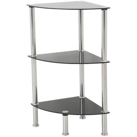 King Black Glass 3 Tier Modern Organisation Rack, Corner Shelving Shelf Unit, Shelf Width 30cm x 30cm