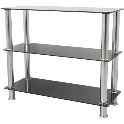 King Black Glass 3 Tier Modern, Organisation Rack, Shelving Shelf Unit, Shelf Width 90cm x 36cm