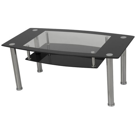 King Black Glass Coffee Table, Rectangle, 110cm x 60cm, for Living Rooms, Lounges, Study, etc