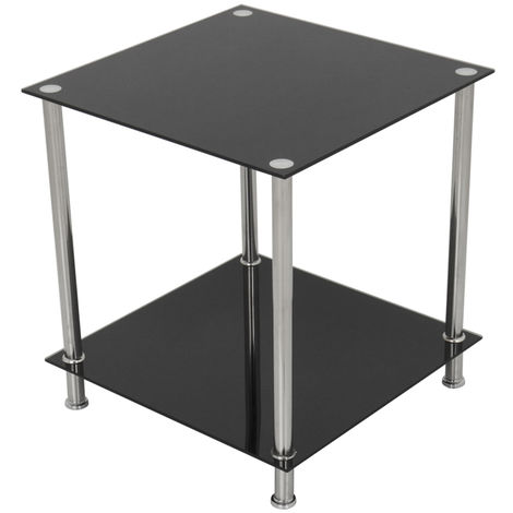 King Black Glass End Table Side Table Coffee Table, Square, 45cm x 45cm, for Living Rooms, Lounges, Study, etc