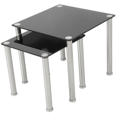 King Black Glass Nest of 2 Tables, Square, for Living Rooms, Lounges, Study, etc