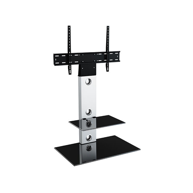 Image of Cantilever TV Stand with Brackets, Silver, Rectangle Base, TVs up to 60' - King