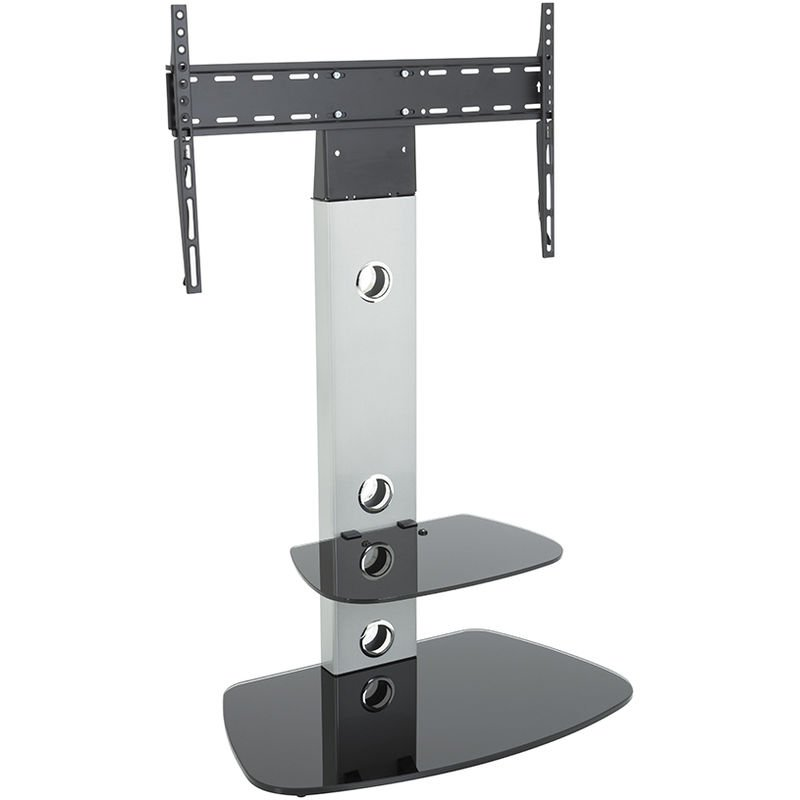 Image of Cantilever TV Stand with Brackets, Silver, Rounded Base, TVs up to 60' - King