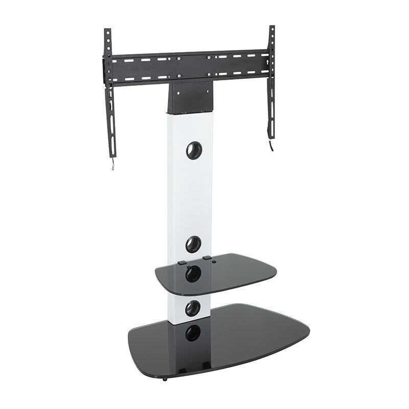 Image of Cantilever TV Stand with Brackets, White, Rounded Base, TVs up to 60' - King