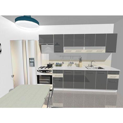 KING | Cuisine Complète L 300cm 9 pcs | Plan de travail INCLUS | Ensemble Armoires cuisine moderne linéaire | Portes vitrées | Gris/Vanille