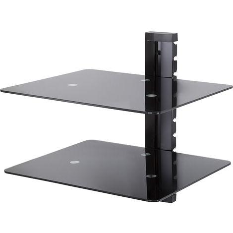 King Floating AV Shelf, Double, Black