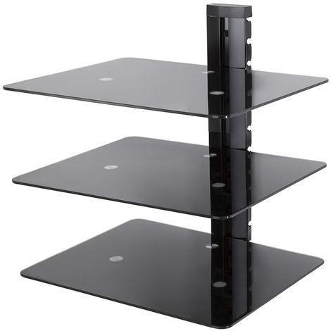 King Floating AV Shelf, Triple, Black