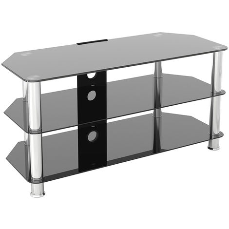 """King Glass TV Stand 100cm, Chrome Legs, Black Glass, Cable Management, for TVs up to 50"""""""
