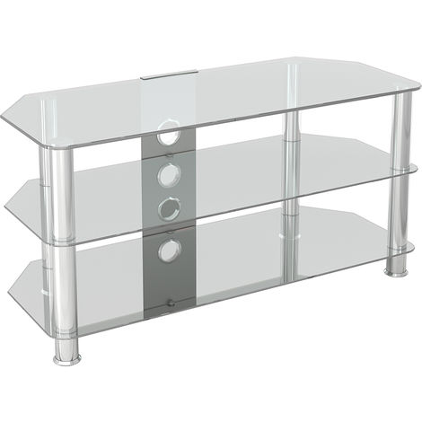 """King Glass TV Stand 100cm, Chrome Legs, Clear Glass, Cable Management, for TVs up to 50"""""""