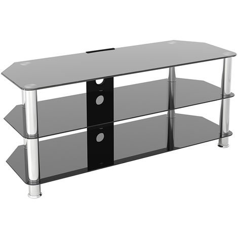 """King Glass TV Stand 114cm, Chrome Legs, Black Glass, Cable Management, for TVs up to 55"""""""