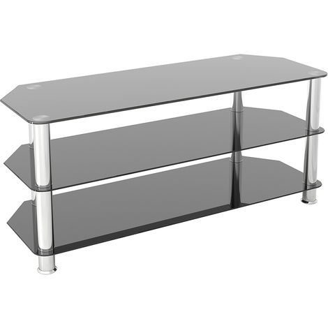 """King Glass TV Stand 114cm, Chrome Legs, Black Glass, for TVs up to 55"""""""