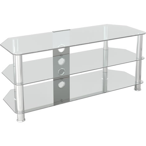 """King Glass TV Stand 114cm, Chrome Legs, Clear Glass, Cable Management, for TVs up to 55"""""""
