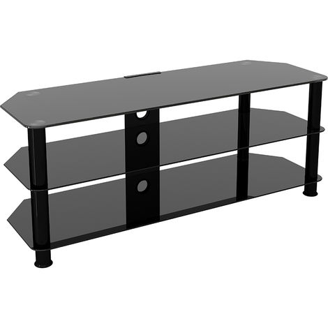 """King Glass TV Stand 125cm, Black Legs, Black Glass, Cable Management, for TVs up to 60"""""""