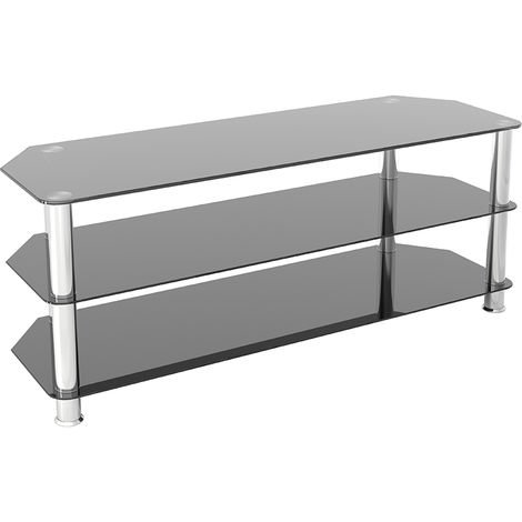 """King Glass TV Stand 125cm, Chrome Legs, Black Glass, for TVs up to 60"""""""