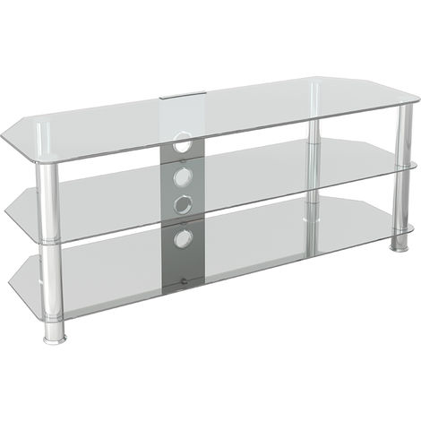 """King Glass TV Stand 125cm, Chrome Legs, Clear Glass, Cable Management, for TVs up to 60"""""""