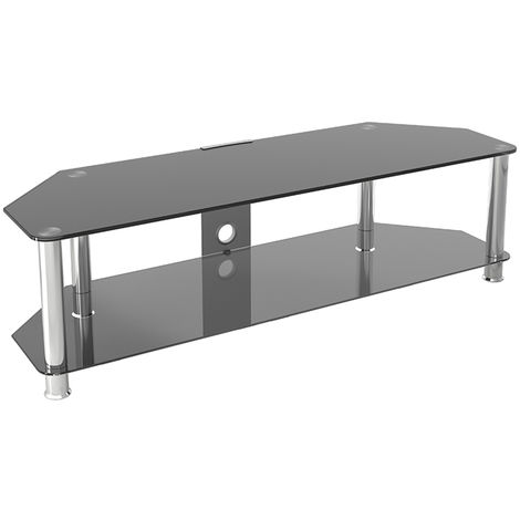 """King Glass TV Stand 140cm, Chrome Legs, Black Glass, Cable Management, for TVs up to 65"""""""