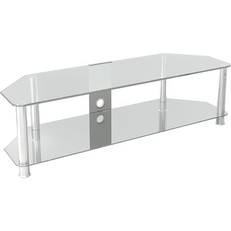 """King Glass TV Stand 140cm, Chrome Legs, Clear Glass, Cable Management, for TVs up to 65"""""""