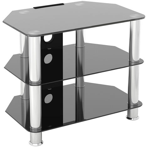 King Glass TV Stand 60cm, Chrome Legs, Black Glass, Cable Management, for TVs up to 32""
