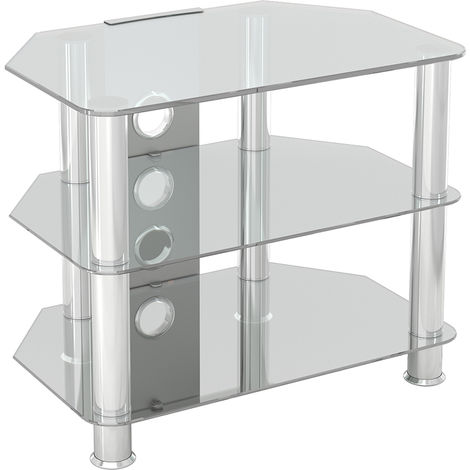 King Glass TV Stand 60cm, Chrome Legs, Clear Glass, Cable Management, for TVs up to 32""
