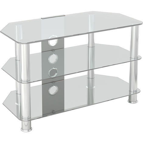 King Glass TV Stand 80cm, Chrome Legs, Clear Glass, Cable Management, for TVs up to 42""
