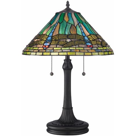 """main image of """"King lamp, vintage bronze and Tiffany glass"""""""