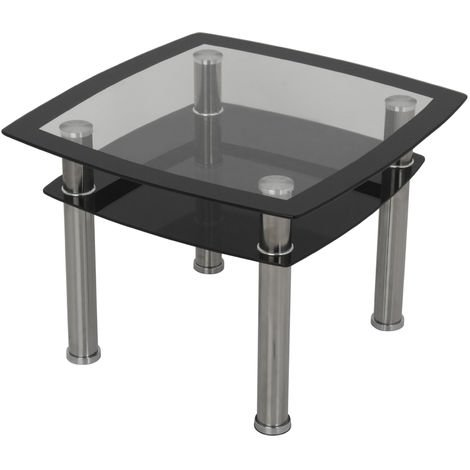 King Modern Black Glass Lamp, End or Side Table with Lower Suspended Black Glass Storage Shelf