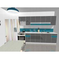KING | Set de cuisine 9pcs L 300cm | Plan de travail INCLUS | Ensemble armoires cuisine moderne linéaire | Portes vitrées | Gris/Turquoise