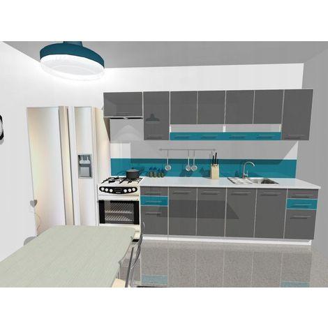KING | Set de cuisine 9pcs L 300cm | Plan de travail INCLUS | Ensemble armoires cuisine moderne linéaire | Portes vitrées | Gris/Turquoise - Gris/Turquoise
