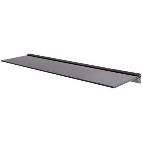 King Single Black Tempered Safety Glass Floating Shelf x 1, 100cm Width, Maximum 20kg per shelf for Home Accessories, Display, Decorative Items in Kitchens, Bathrooms, Living Rooms, etc