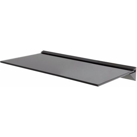 King Single Black Tempered Safety Glass Floating Shelf x 1, 60cm Width, Maximum 20kg per shelf for Home Accessories, Display, Decorative Items in Kitchens, Bathrooms, Living Rooms, etc