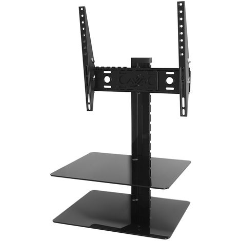 King Tilt & Turn TV Wall Mount Bracket With AV Wall Floating Shelf Black Glass Shelves Perfect For Sky Box, PS4, Xbox,DVD - up to 47'
