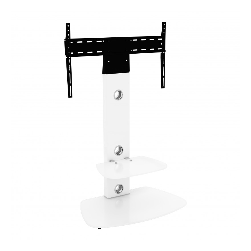 King TV Stand with Bracket Cantilever for 32' 37' 39' 42' 45' 47' 49' 50' 55' 60' 65' + TVs, in white with rounded rectangle white glass, VESA