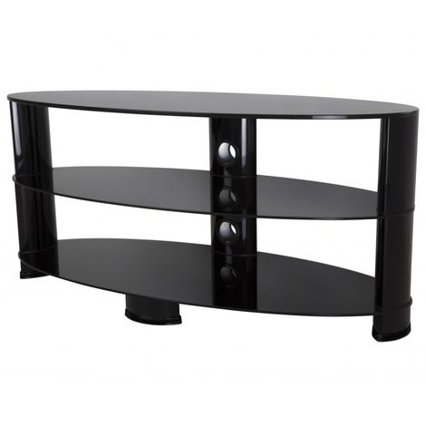 """King Universal TV Stand Black Glass Oval 120cm suitable up to 60"""" inch for HD Plasma LCD LED OLED Curved TVs"""