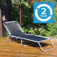 KingFisher Adjustable Garden Sun Lounger Aluminium Framed Pack Of 2