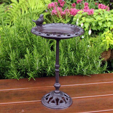"main image of ""Kingfisher Cast Iron Decorative Free Standing Wild Bird Bath"""